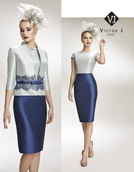 Vestidos de fiesta Victor J corto gris y falda azul marino