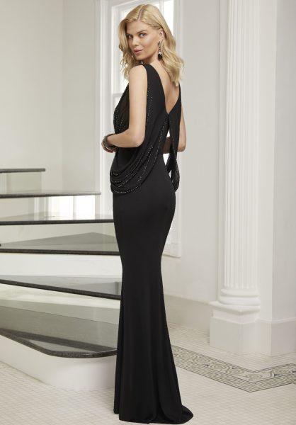 Vestidos de fiesta Ronld Joyce vestido color negro largo de espaldas